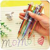 WEIAIXX Kreative Briefpapier Niedliche Mehrfarben-Kugelschreiber Multi-Funktions-Presse Farbe Öl Stift 6 Pen Core 6 Farbige Kugelschreiber