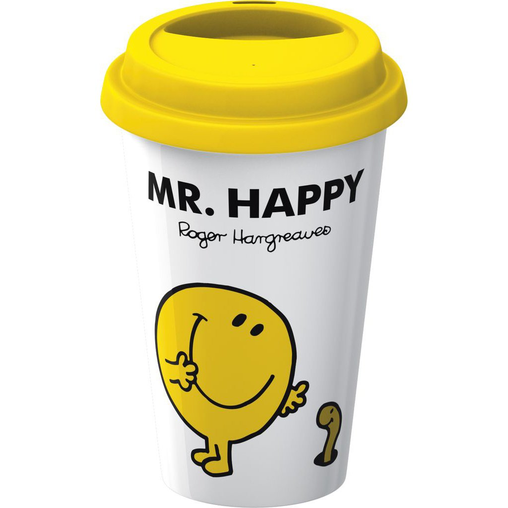 creative tops mr men mr happy take away travel double walled
