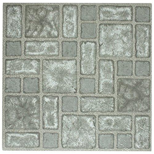 4 x Vinyl Floor Tiles - Self Adhesive - Bathroom / Kitchen Flooring - Brand New (Grey Mosaic (189))