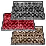 Deco-Mat Felpudo Robusto para Exterior – Felpudo para Puerta Antideslizante con Cepillo de Goma – Felpudo, Rojo, 40 x 60 cm