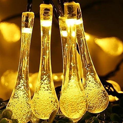 30er LED Solar Lichterkette Wassertropfen Außen Innen Deko Tropfenleuchte für Garten Party Hochzeit Warmweiß Gresonic