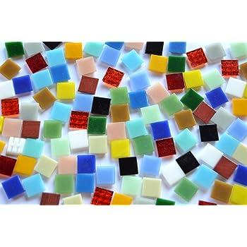 Soft-Glas Mosaiksteine 110 St mit Muster bunt 1x1cm ca 90g.
