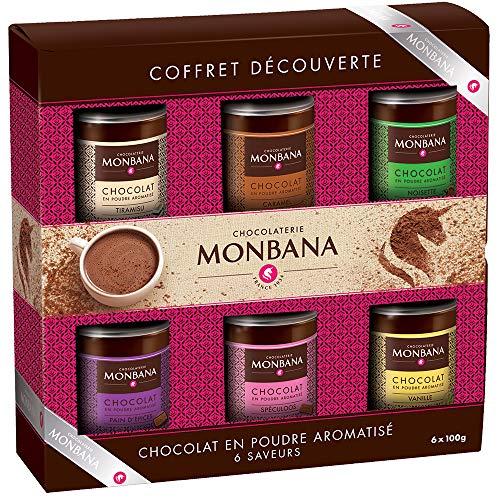 IDÉE CADEAU GOURMAND 6 CHOCOLATS EN POUDRE, coffret 6 chocolats en poudre MONBANA, 6*100 gr,...
