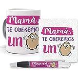 mundohuevo Pack Original y Personalizado Dia de la Madre. Mama te Queremos un Huevo. Libreta, boligrafo y Taza Maxima Calidad