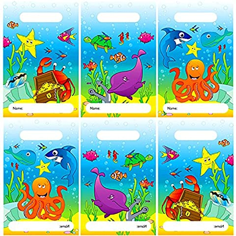 German-Trendseller ® - 8 x sachets d'animaux marins┃ sacs pour surprises┃Party Box┃pour remplir┃ l'anniversaire d'enfant┃pochette surprise