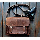 [Sponsored]ECHO Genuine Leather Camera Bag Messenger Bag Camera Case Leather Bag Dslr Padded Camera Bag 15X10X6 Inches Brown