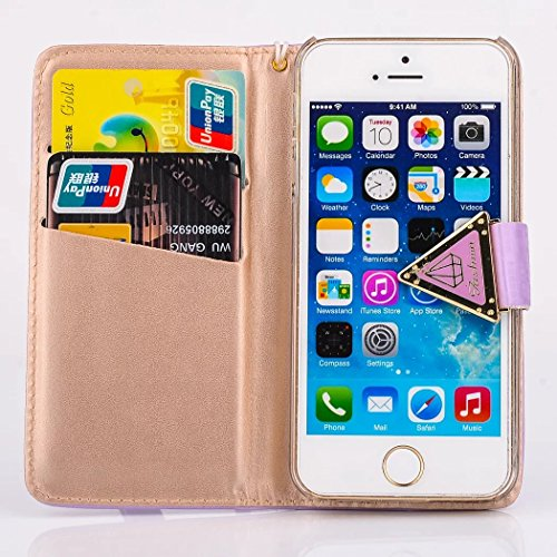 Vandot Tasche für iPhone 5C Hülle mit Kartenfächern Leder Flip Case Cover Luxus Bling Shining Diamant Schutzhülle für iPhone 5C Handy Schutz Schale Bumper + 1X Micro USB Kabel + 1X Anti Staub Stöpsel  Lila
