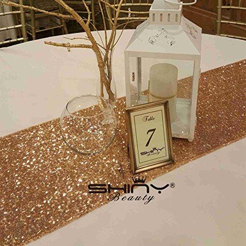 Hot. rose gold Pailletten Tischläufer für Hochzeit/Events/Partys/Dekoration, Leinen, gold, 14''*108''