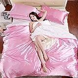 Glanz Satin Bettbezug Bettwäsche Set mit 4-teilig Doppel Farben in Verschiedene Größe