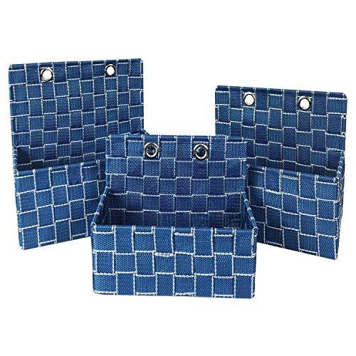3er Set Badorganizer Hängeorganizer Badregal Aufbewahrungskorb Aufbewahrungsorganizer Blau/Weiß