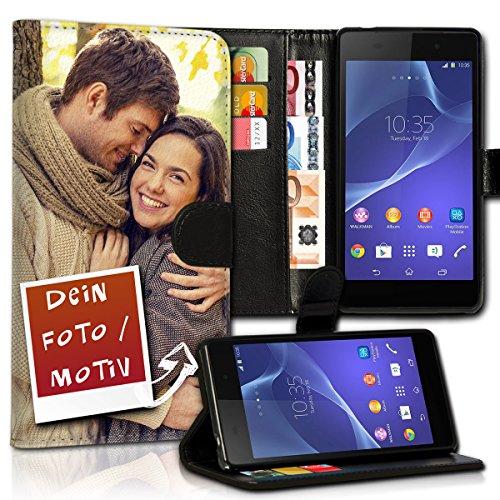 Book Style Wallet Handy Tasche Hülle mit eigenen Fotos personalisiert für Sony Xperia M4 Aqua - Design Flip MVDD -