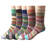 5 Pairs Womens Winter Warm Thick Knit Wool Ladies Socks
