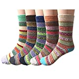 5 Pairs Womens Thick Wool Crew Thermal Socks for Winter