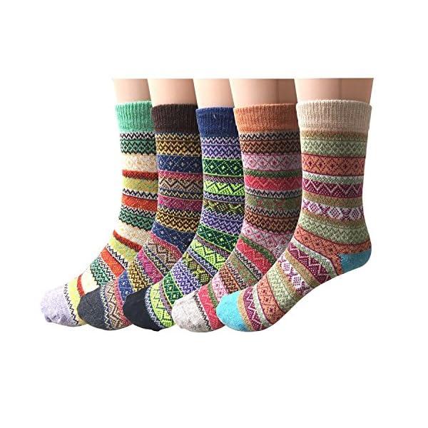 5 Pairs Womens Socks Wool Thermal Warm Knitting Ladies Socks for Winter 61oYvFuLZrL