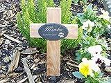 kleines Grabkreuz für Tiere, mit graviertem Schieferschild, hier personalisieren