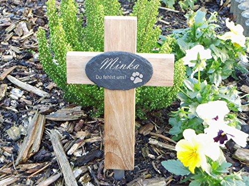 kleines Grabkreuz für Tiere, mit graviertem Schieferschild,