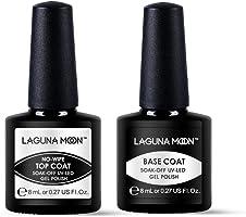 Lagunamoon Gel Nail Polish Base Coat and No Wipe Top Coat Soak Off Gel Polish UV LED Nail Varnish Manicure Set