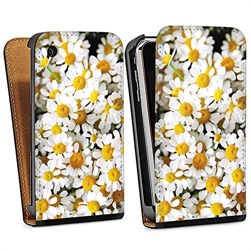 Apple iPhone 5s Housse Étui Protection Coque Pâquerette Camomille Fleurs Sac Downflip noir