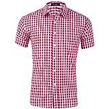 Anfooto Herren Hemd Kariert Kurzarm Trachtenhemd Kentkragen Shirts Regular Fit Businesshemd