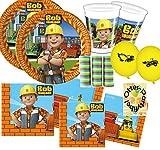 Bob der Baumeister Partyset 47 Teile für 8 Kinder Teller Becher Servietten Luftballons Deko