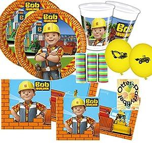 Bob der Baumeister Partyset 63 Teile für 16 Kinder Teller Becher Servietten...