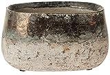 matches21 Dekorative Keramik Jardiniere Pflanzschale / Pflanzgefäß rund natur / gold lasiert 20x13x11 cm