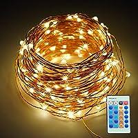 Refoss luci della stringa del LED con telecomando, dimmerabili Copper Wire stellata Luce per Natale di cerimonia nuziale e del partito dell'interno esterna (20m)