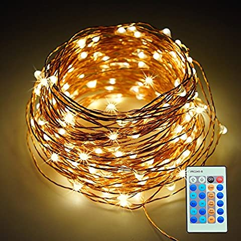 Refoss LE 20M Guirlande Cuivre Lumineuse 200LEDs, chaîne LED étoilé avec télécommande, Lumières étanches appliquent à chambre, patio, mariage et banquets (66ft, 200 LEDs blanc chaud)