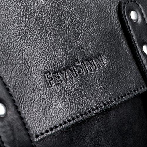 FEYNSINN Rucksack dünn echt Leder Phoenix Backpack Tagesrucksack Stadtrucksack 14 Zoll Laptop Lederrucksack schwarz