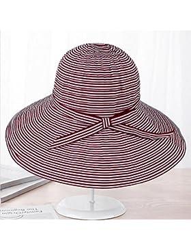Sombreros Temporada de verano Sombrero para mujer Fresco Tela a rayas Amplio borde Protección UV Sombrero de Playa...
