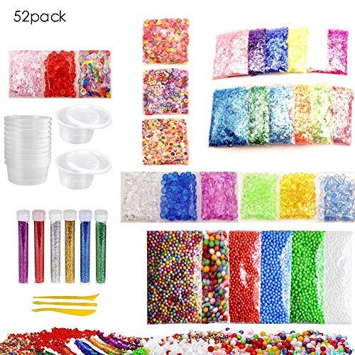iBaste 52 Pack Slime Supplies Kit, Comprenant Boule en Mousse, Fishbowl Beads, des Paillettes, Tranches de Fruits, Conteneurs, Accessoires pour Papier à Sucre Coloré, Outils pour Enfants DIY