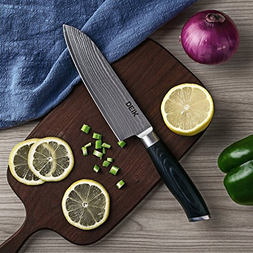 Deik Cuchillos de cocina  Cuchillos japones asiáticos  Cuchillo de Damasco & Acero Inoxidable de Alto Carbón  Profesional Hoja 20cm  Mango Ergonómico