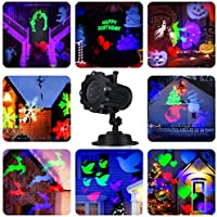 Garden LED Projector Lights, B-right Outdoor LED Decorative Landscape Night Lights, Indoor Outdoor Decoration Projector Lamp, Colorful Patterns 12 Replaceable Lens for Birthday, Halloween, Party, Christmas, Wedding