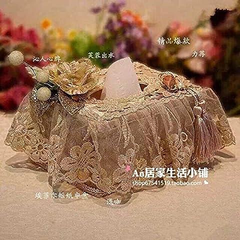 Rettangolare/Squre tessuto scatola di copertura dei titolari europei scatola tessuto semplice e creativa moda tessuto di pizzo soggiorno Prenota box auto di lusso per uso domestico con carta velina,luce color caffè