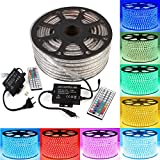 GreenSun LED Lighting 50m LED Lichtband Streifen Strip 60LEDs/m RGB SMD 5050 Lichterkette mit 1500W 44 Tasten Fernbedienung Empfänger Stromkabel wasserdicht IP65 Lichtschlauch
