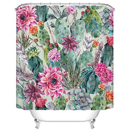ormis Kaktus und Blumen Polyester-Schimmelresistent-Dusche Vorhang Set mit Haken Badezimmer Zubehör 183cm x 183 cm