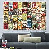Walplus wf10010Party Metall Schilder Collage Wandbild, Vinyl, Mehrfarbig, 22x 32x 2cm