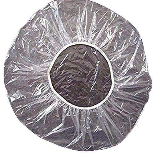 Haobase 100 PC / Paquete Desechable Sombrero Del Hotel De Una Sola Vez De Ducha De Plástico Gorro De Baño Claro Salón De Pelo Productos De Baño