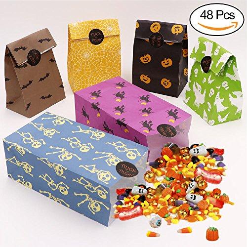 (AerWo 48pcs Halloween Party Taschen mit Aufklebern, Papier Halloween-Treat-Taschen für Geschenk)