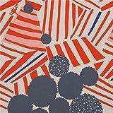 Naturfarbenes Wachstuch mit grauen Kreisen orange Streifen