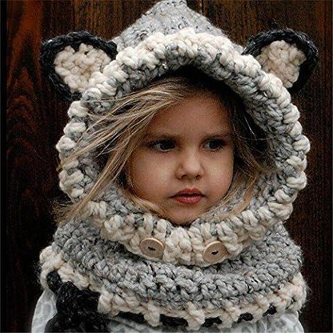 mark8shop Gray Girl Boy enfants bonnet d'hiver Skate Ski chaud