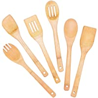 XQK Ensemble de 6 ustensiles de Cuisine en Bois, ustensiles de Cuisine en Bambou cuillères à spatule Eco cuillère à…