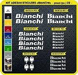 Pimastickerslab Bianchi Aufkleber, für das Fahrrad, Farbe wählbar, 22 Stück, Artikelnummer 0087, Bianco cod. 010