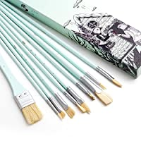 YAMI Miya Set of 10Piece Paint Brush Set-Long Handle Hog Bristle Brush Ideal For Watercolour, Gouache, Acrylic, Oil and More Menthe Verte