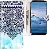 CLM-Tech kompatibel mit Samsung Galaxy S9 Hülle, Tasche aus Kunstleder, Blume Ornament Kreis Muster blau weiß, PU Leder-Tasche für Galaxy S9 Lederhülle