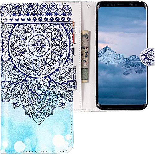 CLM-Tech Samsung Galaxy S9 Hülle, Tasche aus Kunstleder, Blume Ornament Kreis Muster blau weiß, PU Leder-Tasche für Galaxy S9 Lederhülle