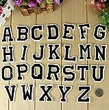 Nowbetter Parches para Planchar con Letras del Alfabeto Negras Bordar, Tela Bordada, Accesorios de Costura para Manualidades, decoración de Ropa (Juego de 26 Unidades)