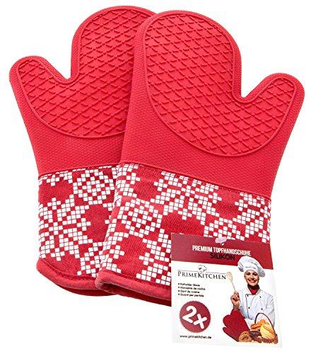Topfhandschuhe aus Silikon & Baumwolle 2-teilig / Ofenhandschuhe für Küche und Grill / Topflappen 1 Paar (Rot) (Gummi Arbeits-handschuhe Beschichtete)