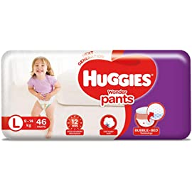 Huggies Wonder Pants Large  L  Size Baby Diaper Pants, 46 count, with Bubble Bed Technology for comfort