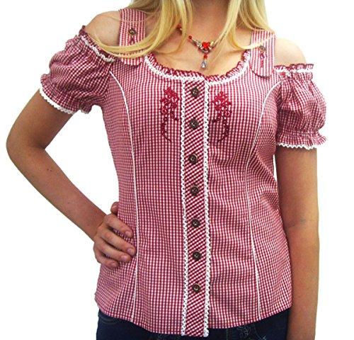 Schulterfreie Damen Carmenbluse rot weiß karierte Trachtenbluse Spieth & Wensky Rot